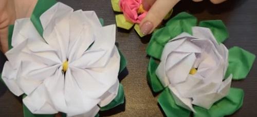 kuv-17 Объемная водяная лилия из бумаги для детей и цветы в той же технике своими руками. Как сделать своими руками кувшинки из бумаги