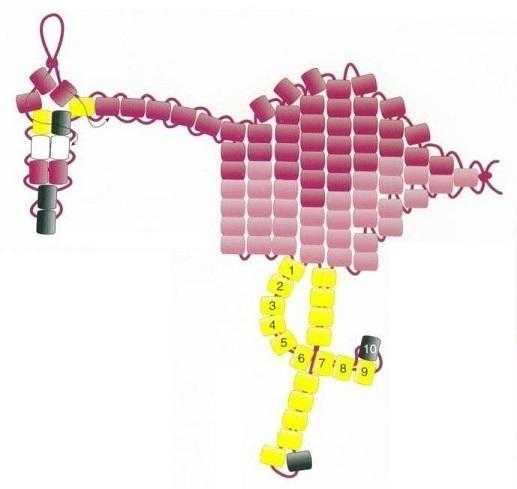 Схема фламинго из бисера 422